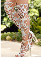 Roman Stylish Hollow Out Clear Crystal Heels Thigh High Boots Lady Open Toe Gladiator Over Knee Summer Sandals Boots Shoes Women