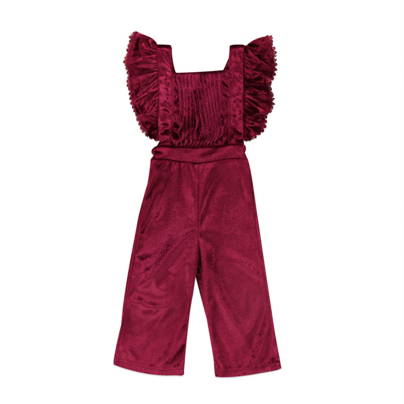 Hot Toddler Kids Baby Girls Velvet Ruffles Striped Sleevless Bib Trousers Backless One-Piece   Romper   Jumpsuit Outfit Clothes 1-6Y