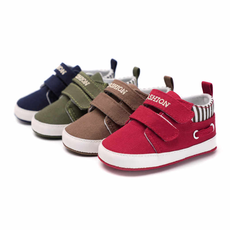 Infant Babies Boy Girl Shoes Sole Soft Canvas Solid Footwear For Newborns Toddler Crib Moccasins 4 Colors Available