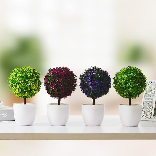Artificial Plants Tree Ornamental Flowerpot Plastic Ball Floral