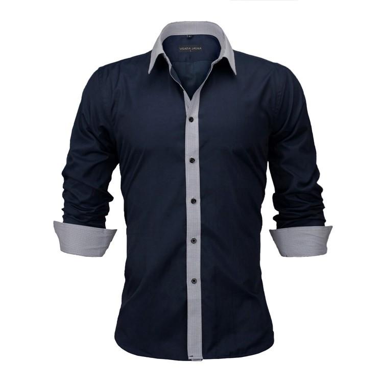 HTB1NHybKVXXXXXjXXXXq6xXFXXXW - New Arrivals Slim Fit Male Shirt Solid Long Sleeve British Style Cotton Men's Shirt N332