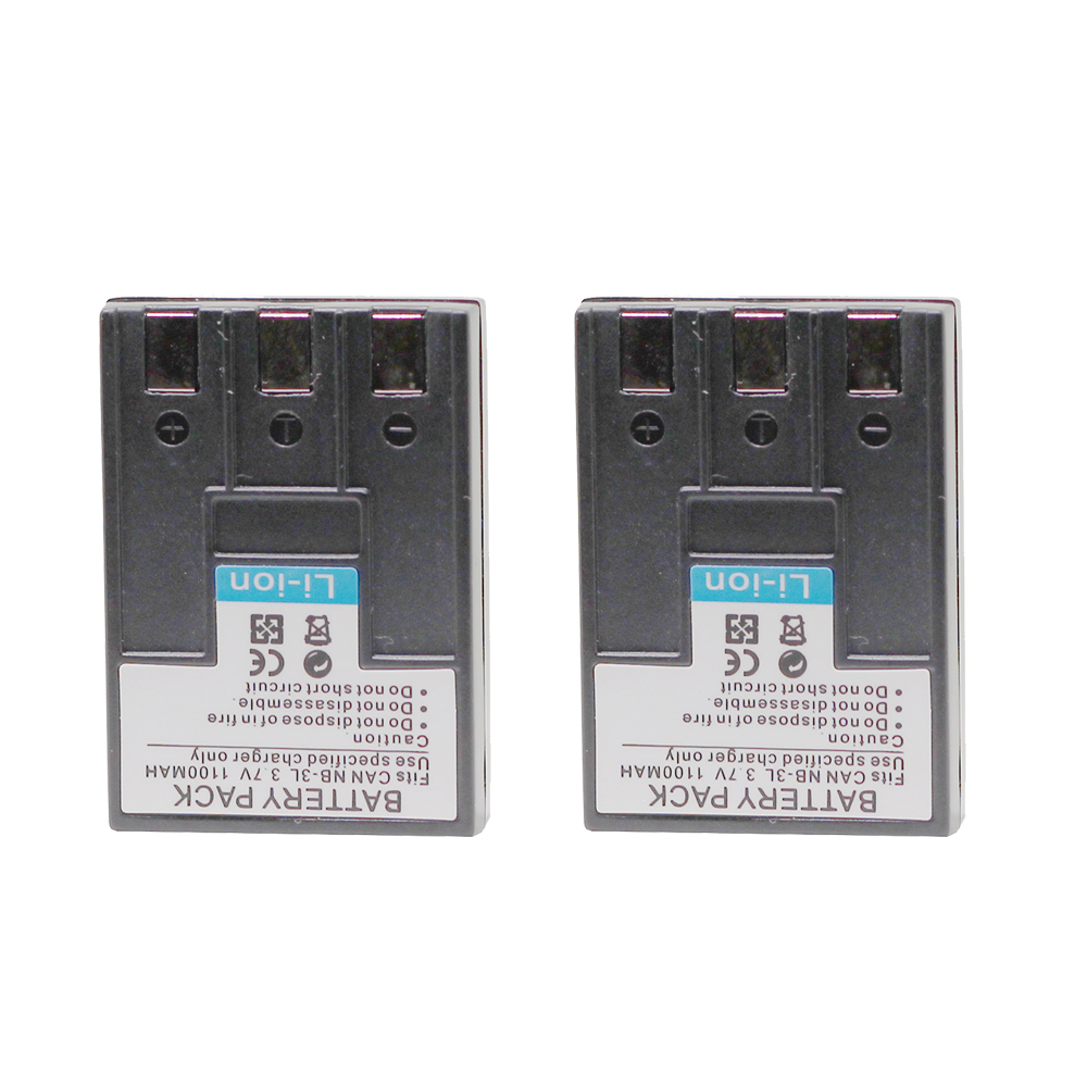 Doscing 2Pcs/lot  3.7V 1100mah Rechargeable Batteries Camera Battery For Canon NB-3L SD500 SD550 SD100 SD20 SD10 Wholesale