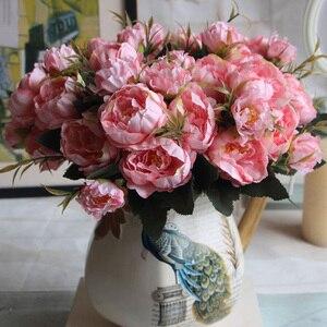 Потертый роскошный букет, Европейский красивый свадебный маленький пион, шелковые цветы, дешевые мини поддельные цветы для украшения дома