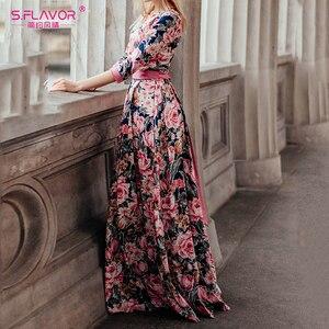 Image 2 - S.FLAVOR Bohemian Printing Long Dress O neck 3/4 Sleeve Big Hem Women Autumn Winter Casual Dress Elegant Party Vestidos De