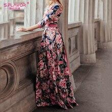 S.FLAVOR Bohemian printing long dress O-neck three quarter sleeve big hem women autumn winter dress elegant casual vestidos