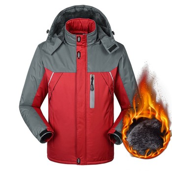 Plus size men's waterproof Outerwear Coats winter male plus velvet thermal leather clothing loose Turn-down Collar coat Jackets