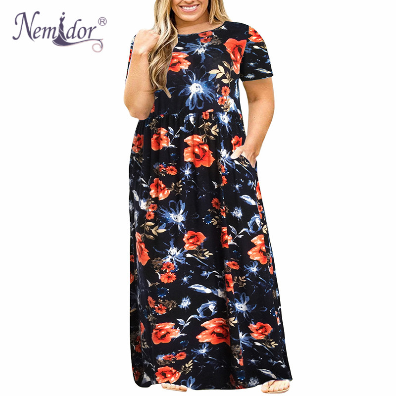 Nemidor 2018 Hot Sales Women O-neck Short Sleeve Long Summer Casual Dress Plus Size 7XL 8XL 9XL Vintage Maxi Dress With Pockets  1