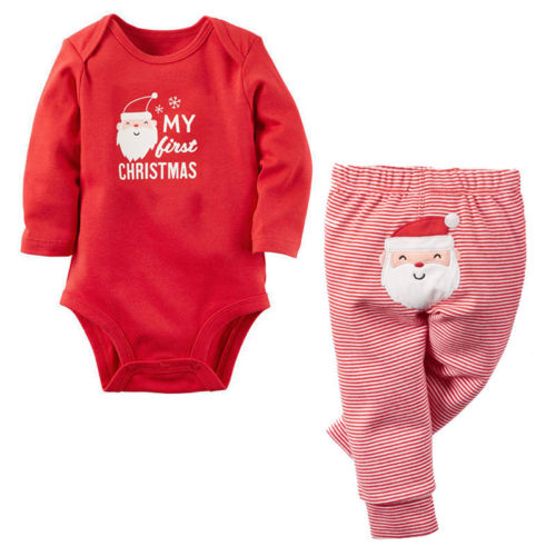 2pcs/set Baby Girl Boys Clothes Santa Claus Christmas style baby Romper Tops + Pants Outfits Spring Autumn baby clothing sets inflatable cartoon customized advertising giant christmas inflatable santa claus for christmas outdoor decoration