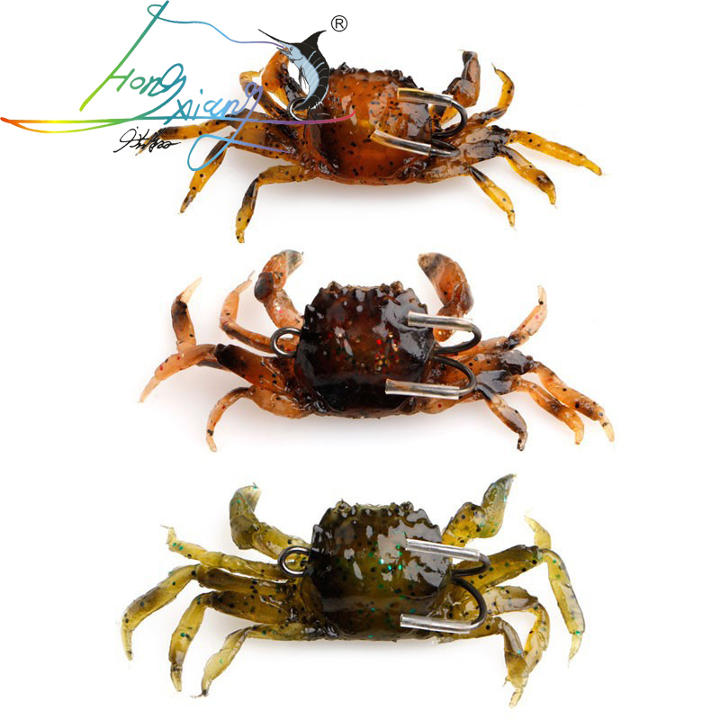 2019 Silicone Road Bait 3D Simulation Crab Bait  With Hook Sea Fishing Bait Tackle