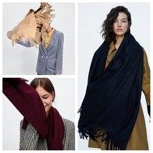 MIARA.L 2018 new solid color cashmere scarf female monochrome double-sided faux cashmere tassel shawl bib for ladies wholesale
