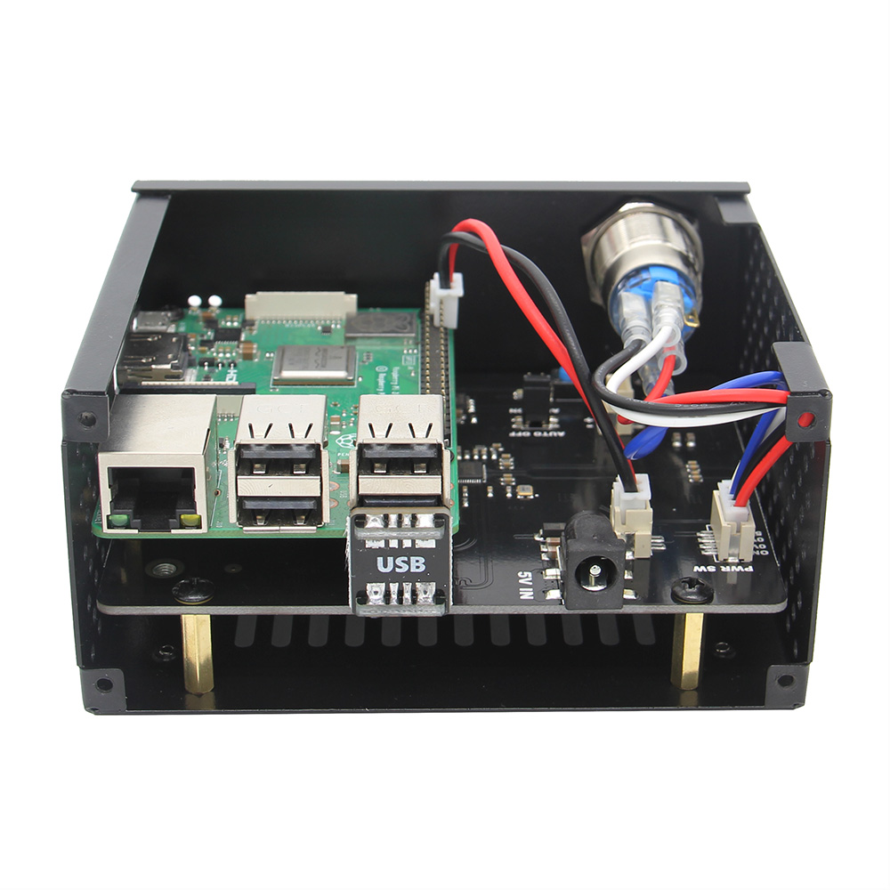 Raspberry Pi X820 V3.0 SSD&HDD SATA Storage Board with Metal Case Kit, X820 Board + Enclosure + Power Switch + Cooling Fan Kit
