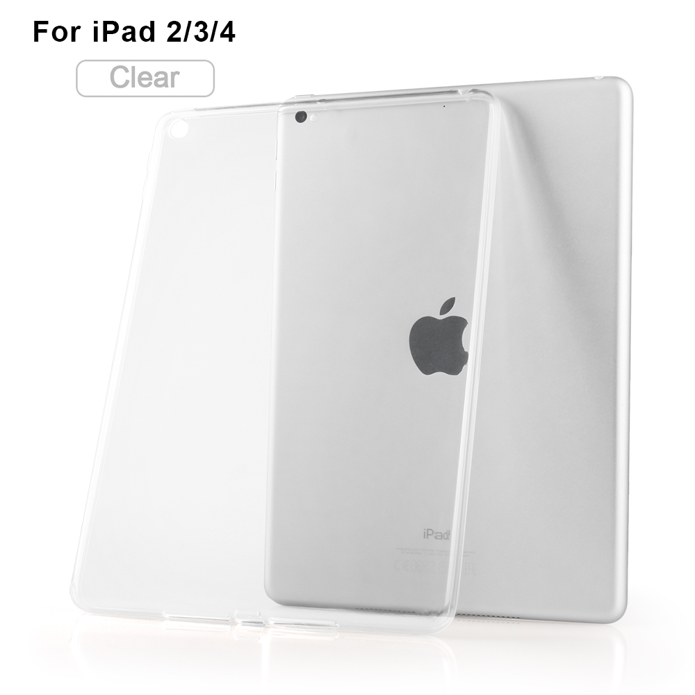 High Quality Clear Soft TPU Transparent Gel Silicone Bumper Tab Case Skin Cover for Apple iPad 2 iPad 3 iPad 4 high quality thickening tpu silicone cover for ipad air ipad 5 case fashion soft transparent froste cover air1 tablet pc stand