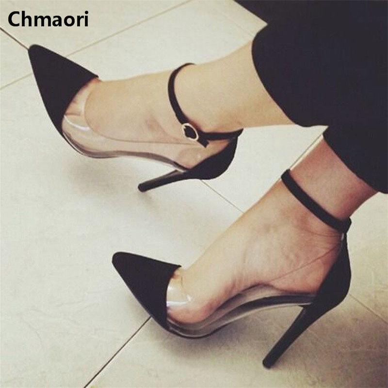 New arrival fashion transparent patchwork high heels pointed toe ankle strap pumps spike heel women sexy party shoes new women pumps transparent wedges high heels ankle pointed toe high heels pring autumn sexy shoes woman platform pumps