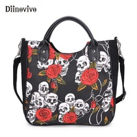 DIINOVIVO New Gothic Women Handbag Fashion Skull Rose Canvas Big Bag Ladies Hand Bags Special Design Handbags Wholesale WHDV0883
