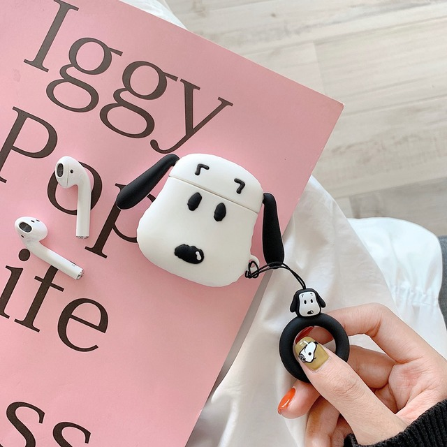 Phone Case for AirPods Case Cute Cartoon Bear Dog Earphone Cases for Apple Airpods 2 Funny Protect Cover with Finger Ring Strap