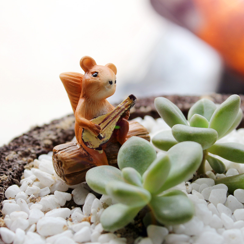 Cute forest Mini animals Figures,squirrel bear dog piggy rabbit garden plant cake car office decoration party supply kids gifts