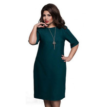 2018 High Quality Summer 4XL 5XL 6XL Plus Size Women Dresses Elegant Half  Sleeve Solid Big d38309b2a7ce