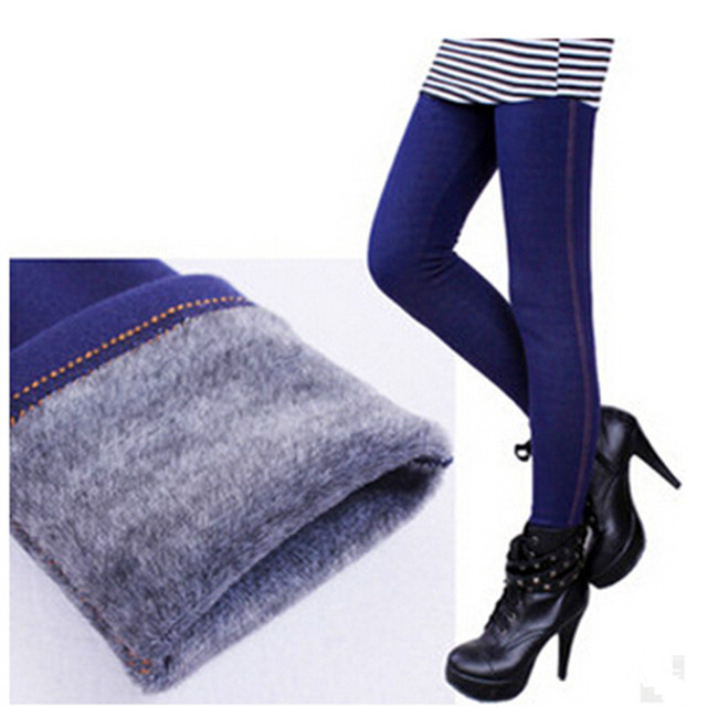 Winter Leggings Women Warm Fleeces Leggings Solid Thicken Footless Legging Faux Denim Pants DD8029