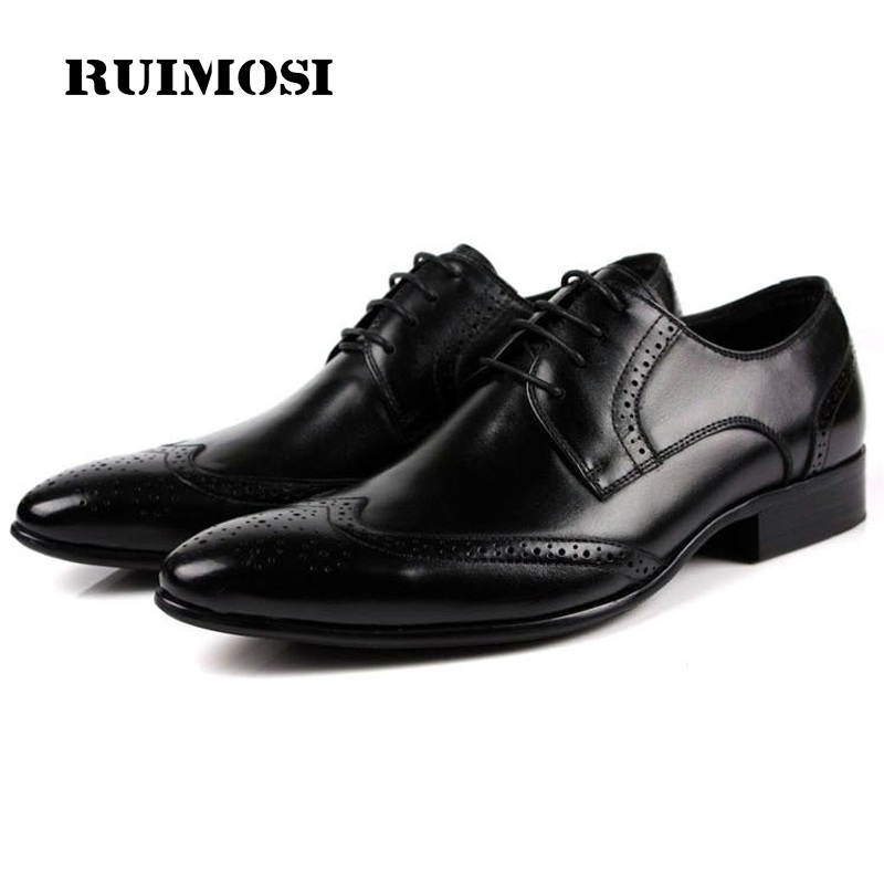 RUIMOSI Fashion Formal Brand Man Dress Shoes Genuine Leather Vintage Brogue Oxfords Luxury Pointed Toe Men's Wing Tip Flats EC43