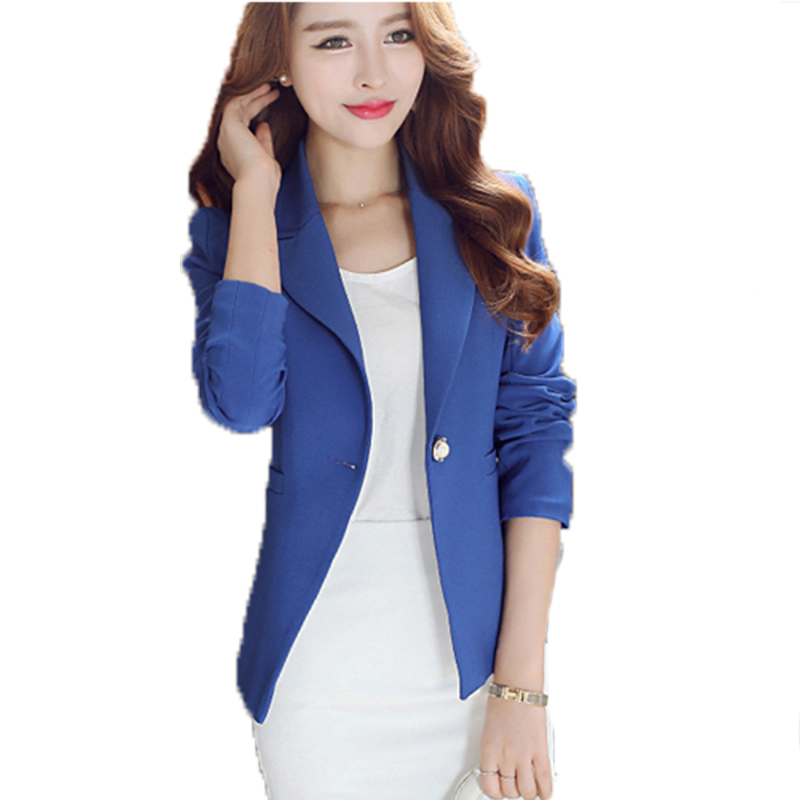 2016 simple solid women 39 s blazer jacket suit single button for Simple single