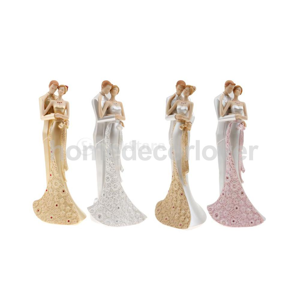 Romantic Bride Rhinestone Flower Dress Groom Embraced Sculpture Figurine Wedding Centerpieces Decoration Favour Gift