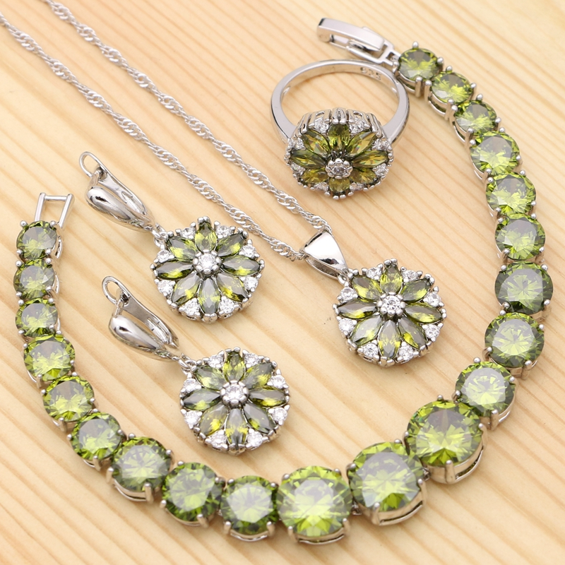 925 Silver Jewelry Sets For Women Olive Green Cubic Zirconia Flower Ring Pendant Bracelet Necklace Earrings