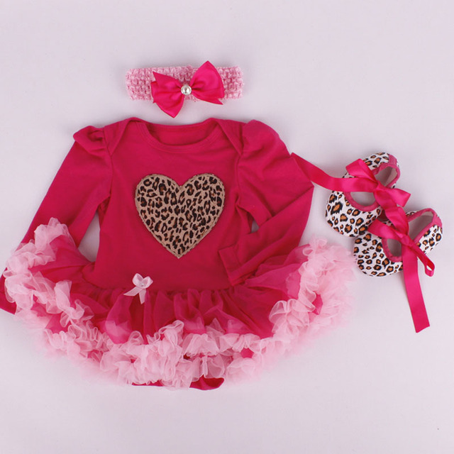 3PCs per Set Infant Tulle Romper Red Leopard Love Baby Girls Long Sleeves Tutu Dress Headband Shoes for 0-12months Free Shipping