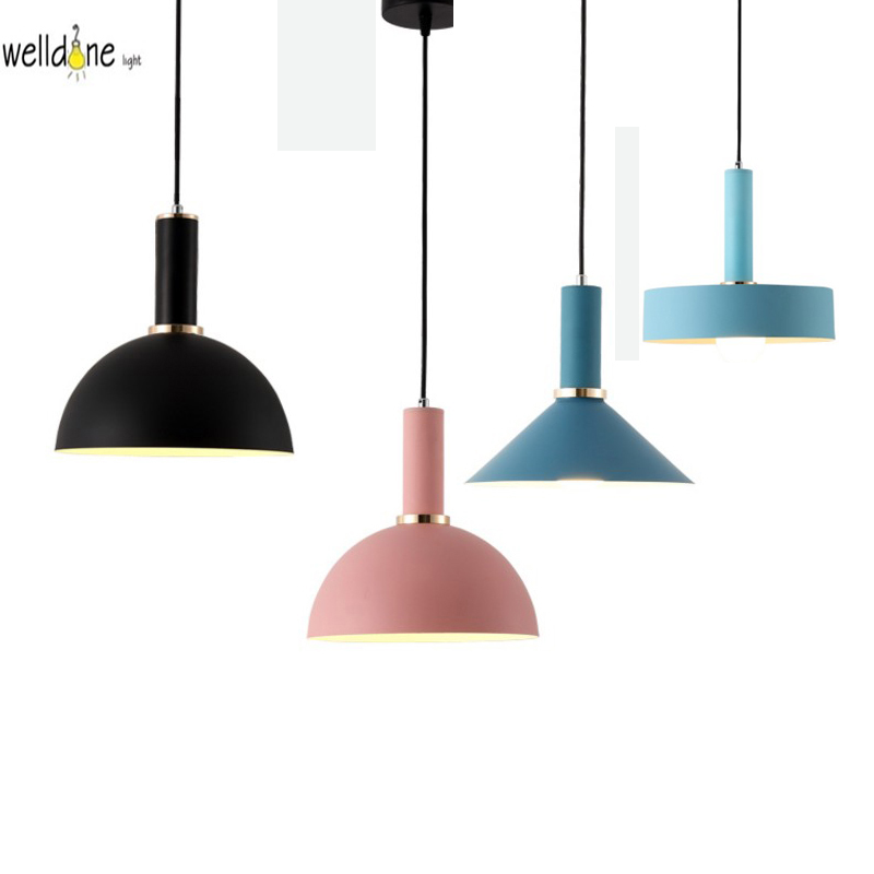 Modern pendent lamp dinning room lampara lighting fixture colorful LED nordic hanging lamp aluminum modern decorative pendent light fixture home pendant black metal hole pendent lamp wholesale
