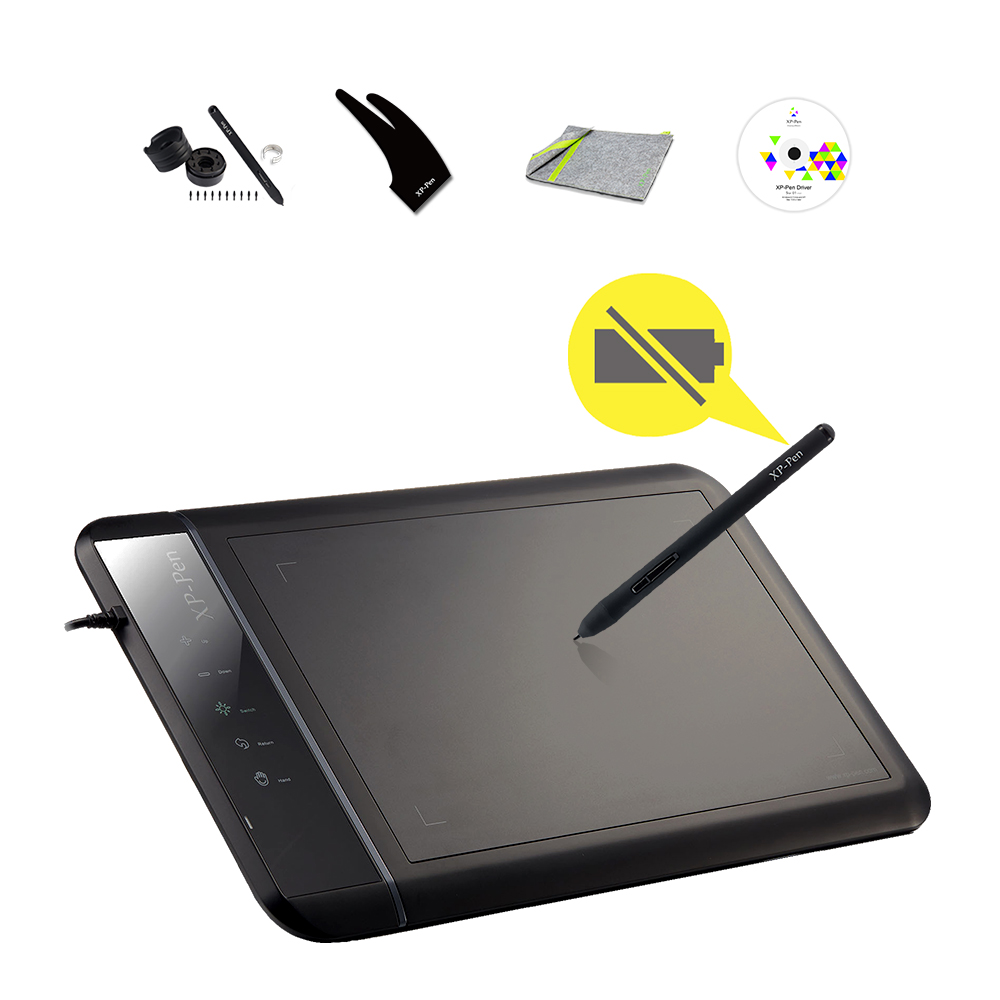 XP-PEN Star 02 Black Digital 8 x 5 Graphics Painting Pen Tablet  Signature Boards/Pad with Express touch Keys for Artist new huion k58 8 x 5 digital animation tablets art painting tablet boards usb professional graphics drawing tablet pad black