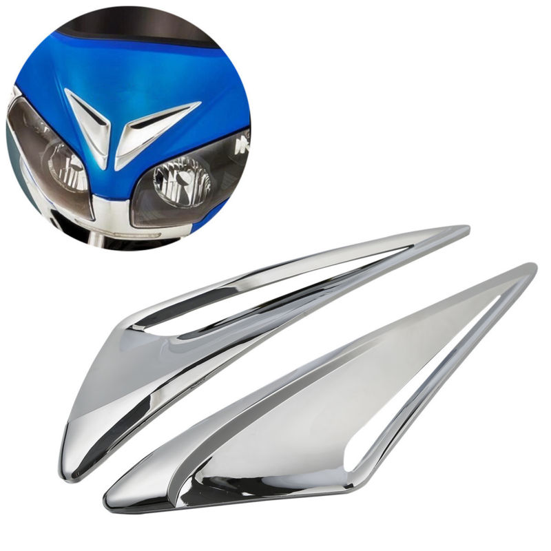 Pair Chrome Windshield Garnish Vent Accents For Honda GL1800 Goldwing 12-laterPair Chrome Windshield Garnish Vent Accents For Honda GL1800 Goldwing 12-later