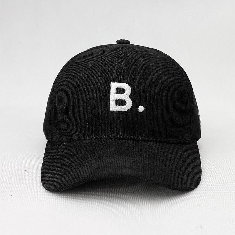 2019 Winter B Letter Thicken Corduroy Baseball Cap Adjustable Snapback Cap For Men And Women 454
