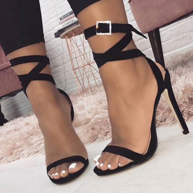 53a64be7f1b1b Boussac Lace up Cross-tie High Heel Women Sandals Buckle Strap Sexy Heel  Sandals Suede