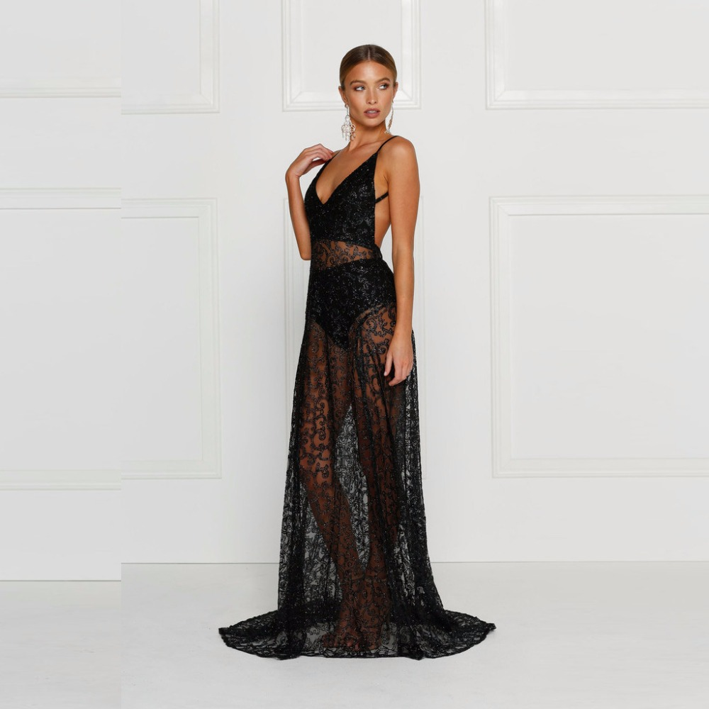 2016 Summer European Style Womens Sexy Lace Embroidery Maxi Solid Black font b Dress b font