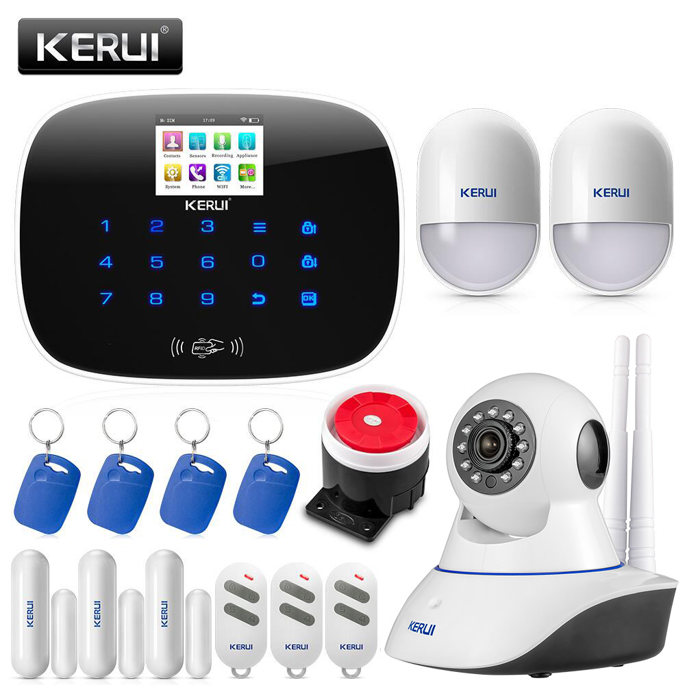 KERUI New W193 Wireless 3G WIFI PSTN GSM Smart Home Burglar Security Alarm System Sets APP Remote Control Touch Screen Alarm