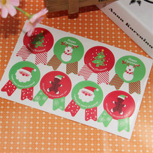 8pcs/sheet Snowman Merry Christmas Tree Sticker party decor DIY candy cake box baking package santa claus paper tags labels