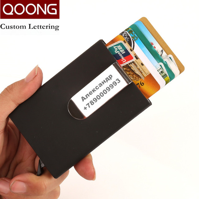 qoong 2018 rfid card wallet automatic pop up id credit card holder men women business card - Women Business Card Holders