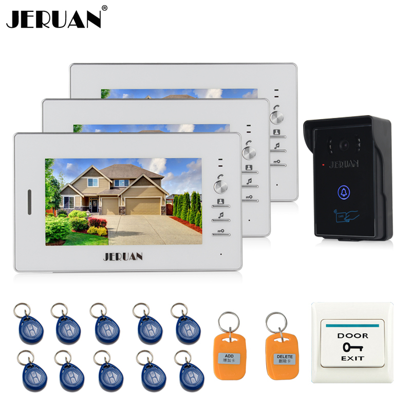 JERUAN 7`` LCD Screen Video Intercom Video Door Phone System 3 monitors + 700TVL RFID Access Waterproof Touch key Camera + 10 ID jeruan home wired 7 lcd video door phone intercom system 700tvl rfid waterproof touch key password keypad camera free shipping