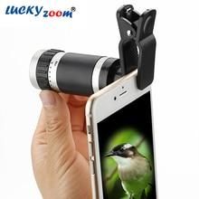 Luckyzoom 8x Zoom Mobile Monocular Telescope Camera Lens Mini Universal Optical Clip Telephoto Phone Accessories Free Shipping