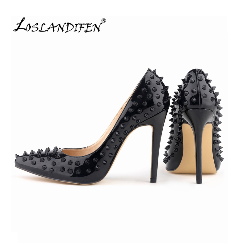 LOSLANDIFEN Sexy Pointed Toe High Heels Women Pump Shoes Patent Rivets Spring Brand Wedding Pumps Big Size 35-42  302-1PA-REVETS sexy pointed toe high heels women pumps shoes new spring brand design ladies wedding shoes summer dress pumps size 35 42 302 1pa