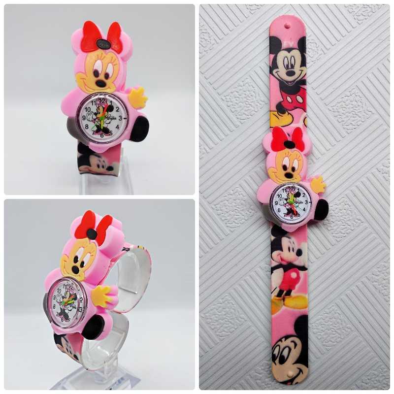 Schöne Mädchen Uhren Kinder Rosa Cartoon Minnie Uhren Bunte Gummi Armband Armbanduhr für Mädchen Kinder Montre Enfant