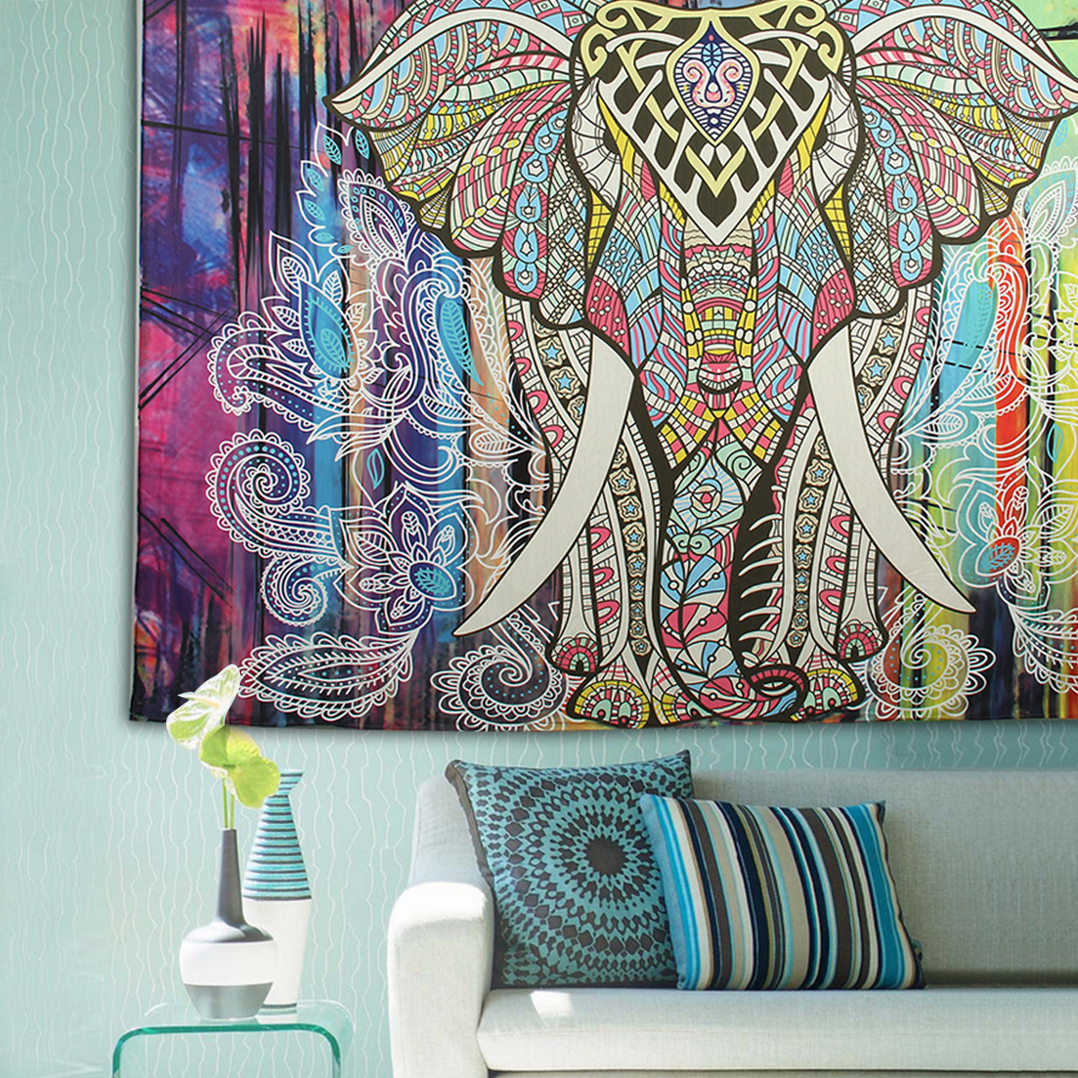 Elephant Mandala Tapestry Throw Towel Hippie Tapestry Floral Printed Home Decor Wall Tapestries Bedspread 210*150CM 14