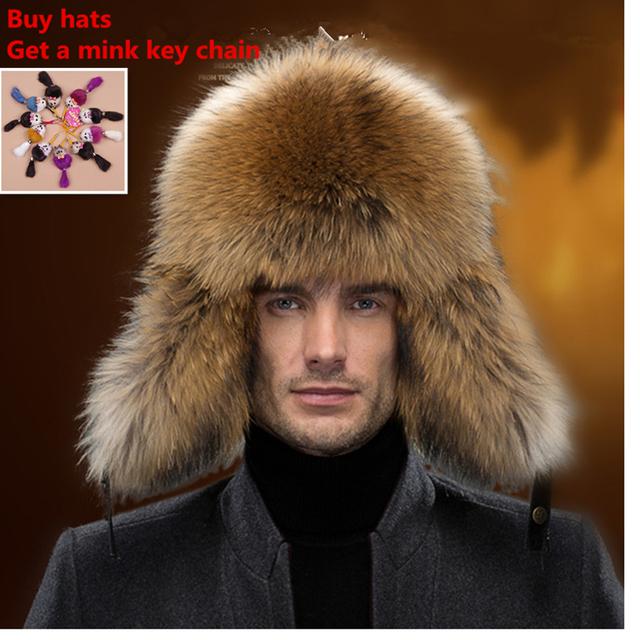 Homens chapéus de pele de raposa chapéu bombardeiro russo ushanka guaxinim abafadores de meia idade de hombre casuais ao ar livre tampão do inverno chapéus de abas de orelha