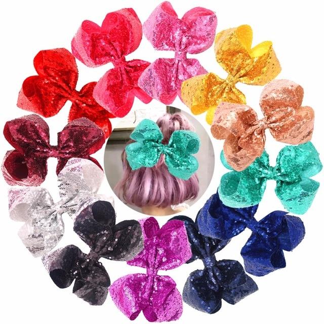 Bling 8 pulgadas lentejuelas grandes lazos de pelo pinzas de cocodrilo para niñas, niños pequeños, adolescentes, Senior, mujeres cualquier ocasión Paquete de 12