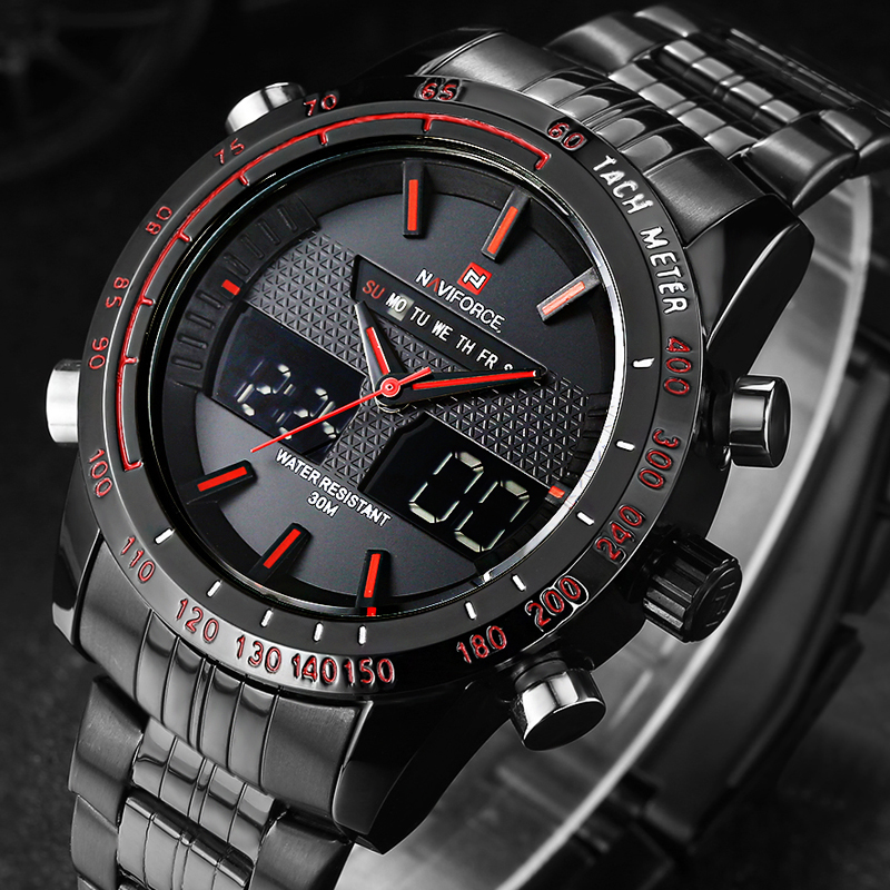 Watches men NAVIFORCE 9024 luxury brand Full Steel Quartz Clock Digital LED Watch Army Military Sport watch relogio masculino geneva watches men 2017 binger fashion brand quartz clock army military sport watch digital wristwatches relogio masculino