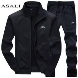 Мужской комплект для спорта, повседневная черная флисовая толстовка и брюки из полиэстера, спортивная одежда, весна 2019