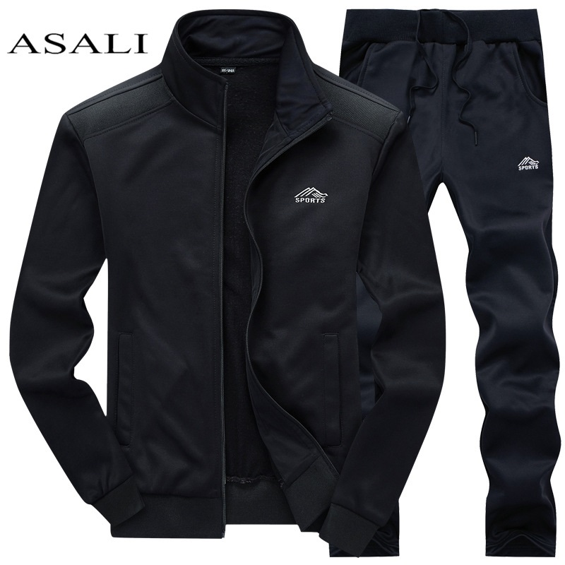 Tracksuits Men Polyester Sweatshirt Sporting Fleece Gyms Spring Jacket + Pants Casual Men's Track Suit Sportswear Fitness