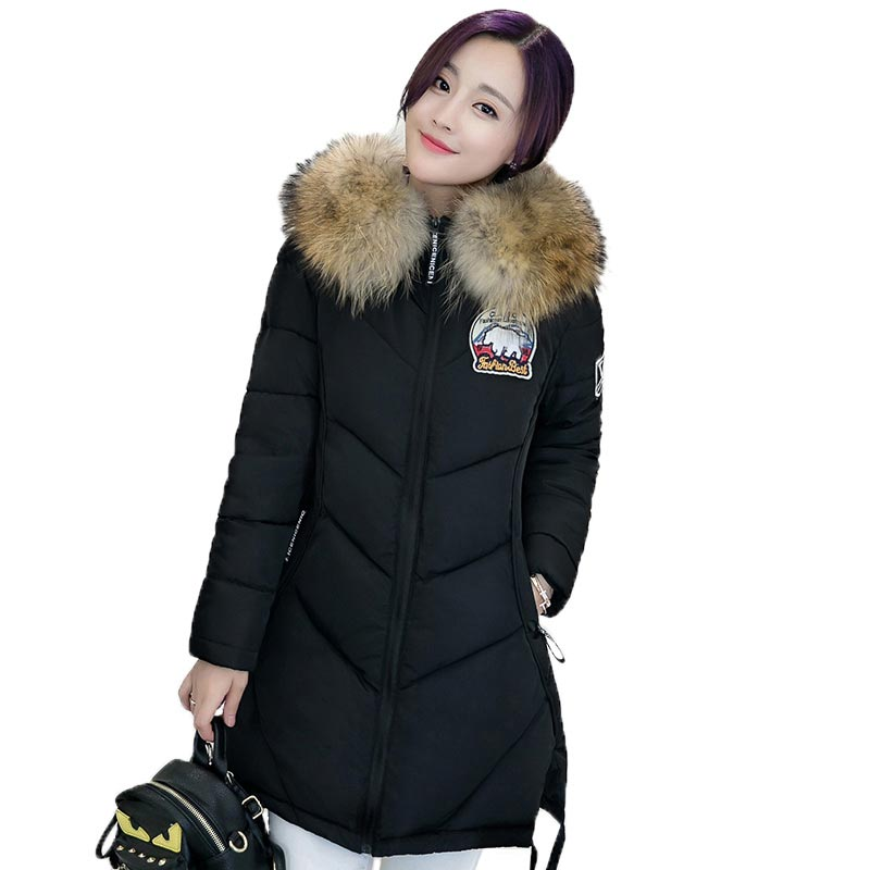 New 2017 Winter Long Thick Warm Cotton Jacket Women Fur Collar Patch Print Padded Coat Plus Size Hooded Slim Parka PW0340 women thick winter large size long section padded hooded outerwear new fashion fur collar slim padded cotton warm coat jacket