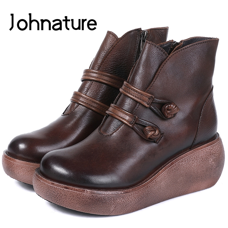 Johnature New 2019 Winter Genuine Leather Zipper Wedges Round Toe Buckle Casual Retro Ankle Flat Platform