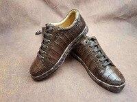 100% натуральная крокодиловая кожа, мужская обувь, черный и коричневый цвет, матовая крокодиловая кожа, Мужские модельные кроссовки в деловом