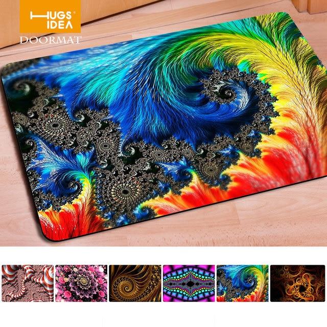 Hugsidea 40 60cm Novelty Home Decor Dedust Carpets Livingroom Welcome Colorful Hd Print